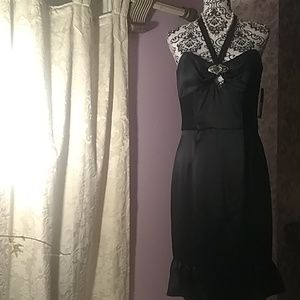 A.B.S. by Allen Schwartz black satin dress.NWT